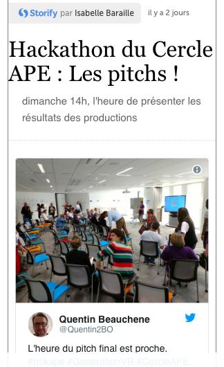 Les pitchs du Hackathon du Cercle APE